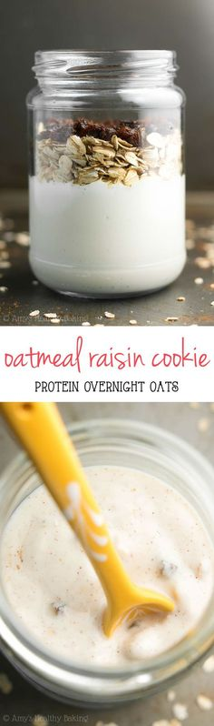 Oatmeal Raisin Cookie Protein Overnight Oats -- only 6 healthy ingredients & 16g+ of protein! This easy recipe really does taste just like cookies!