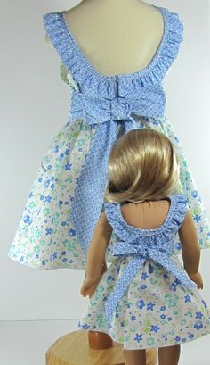 Doll and Me Matching Girl and Doll Summer Floral Dress With Sash and Bow
