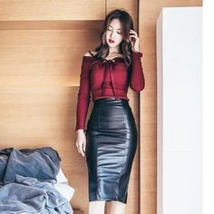 Buy Dimanche Set: Off Shoulder Rib Knit Top + Faux Leather Pencil Skirt at YesStyle.com! Quality products at remarkable prices. FREE WORLDWIDE SHIPPING on orders over Mex$ 800.