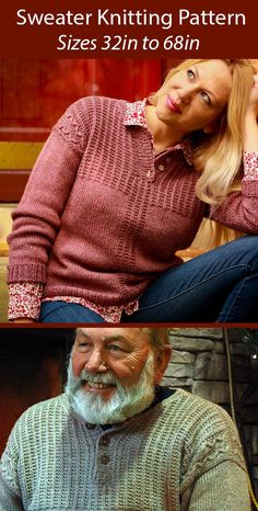 """Sweater Knitting Pattern for Dziadzi Pullover - Cozy pullover decorated with simple mistake rib and slipped-stitch cables, finished off with a button placket henley neckline. Styles for men and women included. Sizes 31 1/2 (36, 40 1/2, 44, 48 1/2) {52, 55 1/2, 60, 64 1/2, 68}""""/80 (91.5, 103, 112, 123) {132, 141, 152.5, 164, 172.5} cm finished chest circumference. Dziadzi—roughly pronounced JA-jee—is Polish for grandpa. Worsted weight yarn. Designed by Kristen Jancuk"""