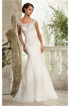 Hot Sale Sweep Train Buttons Lace Empire Cap Sleeves Wedding Dresses