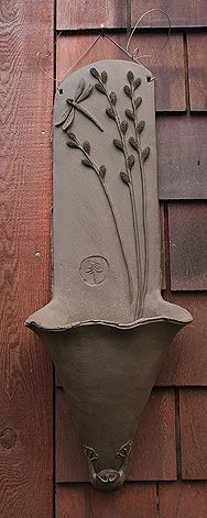 Woodlands Garden Pottery -- Pussy willows Wall planter