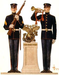 This illustration by artist J.C. Leyendecker in 1917 shows two Marines in dress uniform. The image was used on WWI recruiting and enlistment posters.
