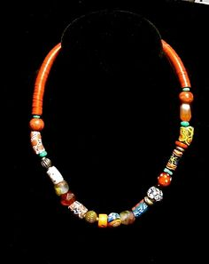 African Trade Bead Necklace Tribal Red by TheJoyMoosCollection, $225.00