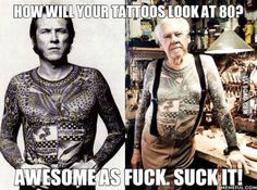 How will your tattoo's look at 80?