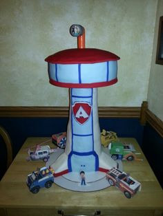 Paw patrol tower cake, oh man, there aren't instructions!