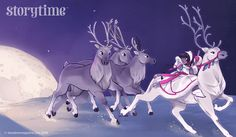 Magical moonlit reindeer from our Storytime 28 Around the World Tale. Art by Kadi Fedoruk. ~ STORYTIMEMAGAZINE.COM