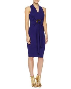 Belted Matte Jersey Dress, Lapis by Donna Karan at Neiman Marcus.