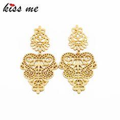 Kiss me joyería del diseñador vendedor caliente elegante del color del oro del hueco del metal pendientes para las mujeres