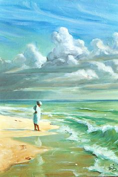 Oil painting of beach and clouds Wow Art, Beautiful Paintings, Art Oil, Landscape Paintings, Oil Paintings, Painting Inspiration, Watercolor Art, Art Gallery, Art Photography