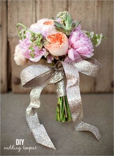 DIY Pink Peonies And Succulent Bouquet #DIY; #Peonies; #Succulents; #Bouquet; #Vintage; #Rustic; #Glitter; #Ribbon;
