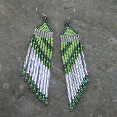 Green seed bead earrings   dangle long earrings by Anabel27shop, $16.00