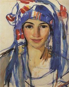 'Self-portrait wearing a scarf', 1911 © Zinaida Yavgenyevna Serebryakova