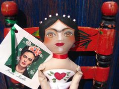 Sale! Frida Kahlo Mexican Artist Cloth Doll