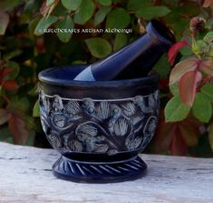 WITCH'S GARDEN Carved Black Soapstone Mortar by ArtisanWitchcrafts