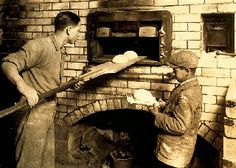 Cambridge, Massachusetts (1917) - Vincenzo Messina and his younger brother Angelo baking bread.