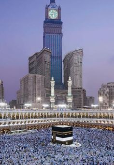 The Abraj Al-Bait Clock Tower of Mecca, #SaudiArabia is the the tallest clock tower in the world, the tallest hotel in the world and the world's largest clock face — visible from 16 miles away and topped by a golden crescent minaret whose massive loudspeakers emit prayer calls to a distance of four miles.