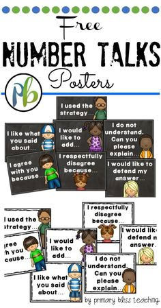 Free Number Talk Posters to help facilitate number talks in your kindergarten through fifth grade classrooms.