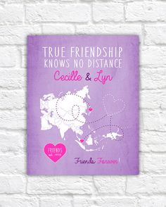Asia Map, Long Distance Friends - Choose any Map - Two Best Friends, True Friendship, BFF Poster, Quote, Pink, Purple, Girly Gift, Asian