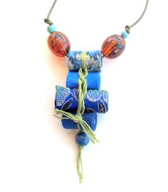 Royal azure long fiber necklace Japanese inspired blue by Gilgulim
