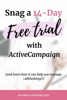 With it you can create unlimited funnels, create tags and workflows, add notes to your customer files, manage #allthethings, and there are additional upgrades that even allow for texting and DMing, all from the platform! Snag a 14-Day FREE Trial with ActiveCampaign at rachelmcmichael.com/active1. And when you do, DM us with the email address you used to register + we'll send you our highest converting email funnel for for FREE- our gift to you! Best Email Marketing Software, The Marketing, Business Tips, Online Business, Marketing Automation, Texting, Try It Free, Make Money Blogging, Growing Your Business