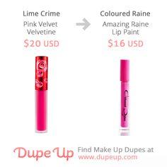 Lime Crime Pink Velvet Velvetine dupe. More dupes at dupeup.com