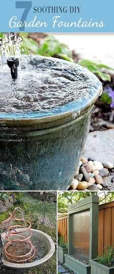 7 Soothing DIY Garden Fountains • Lots of ideas and tutorials! by deena