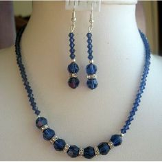 Swarovski Crystal Sapphire Necklace and earrings with Round and 5328 Xillion Bicone Beads