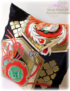 Vintage Japanese Kimono-OBI--pillow case, cushion cover, silk cushion,sofa bedding,embroidery gold,black,red--Made in Japan 008 by Hime21 on Etsy