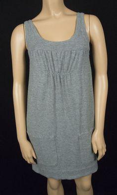 VINCE Sweater Dress XS Sleeveless Gray Front Pockets Extra Soft Knit Tunic