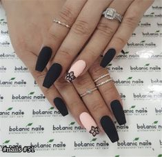 The latest and most creative designs for black nails are perfect for fall and winter . - The latest and most creative designs for black nails are perfect for fall and winter, # o - Black Nail Designs, Winter Nail Designs, Acrylic Nail Designs, Black Coffin Nails, Matte Black Nails, Brown Nails, Matte Nail Art, Burgundy Nails, Matte Red