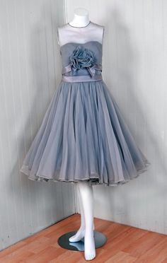 1950's Harvey Berin Dove-Gray Silk Chiffon Applique Party Dress | From a collection of rare vintage evening dresses at https://www.1stdibs.com/fashion/clothing/evening-dresses/