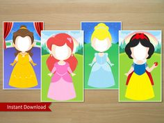 Disney Princess Photo Booth Prop Belle Ariel by SquigglesDesigns