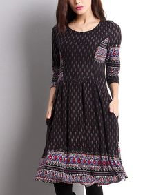 I have this dress and I love it.Loving this Black Border Fit & Flare Dress on #zulily! #zulilyfinds