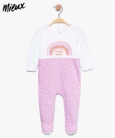 cd7cc45988e85 Pyjama bébé fille en coton bio avec motif arc-en-ciel pailleté Violet