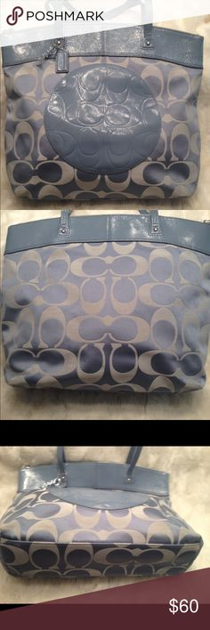 EUC LARGE COACH Laura Tote COACH#M1182-F16335. In good shape. Clean liner. Good straps. Has some really faint scuff on the corners shown in pic. Lots of space. Measures 13x13 Coach Bags Totes