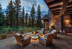 This modern mountain home was designed by Ryan Group Architects along with Vineyard Custom Homes, located in Martis Camp, California. Mountain Home Exterior, Modern Mountain Home, Mountain Homes, Indoor Outdoor Living, Outdoor Life, Outdoor Spaces, Outdoor Decor, Outdoor Ideas, Custom Homes