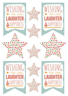 Wishing you love, laughter & happiness - free printable tags #christmas