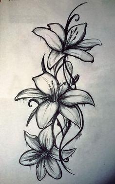 Lilly Flower Tattoo, Lillies Tattoo, Small Flower Tattoos, Flower Tattoo Shoulder, Girly Tattoos, Small Tattoos, Tatoos, Flower Tattoo Women, Lilly Flower Drawing