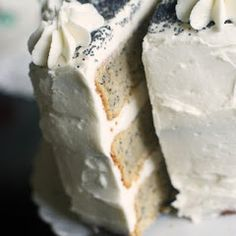 spiced poppyseed cake with almond buttercream icing