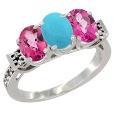 14K White Gold Natural Turquoise and Pink Topaz Sides Ring 3-Stone Oval 7x5 mm Diamond Accent, sizes 5 - 10 >>> Find out more details by clicking the image : Jewelry Ring Bands
