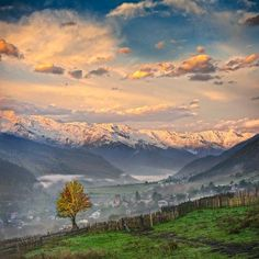 Dawn in Svaneti in the Greater Caucasus Mountains.