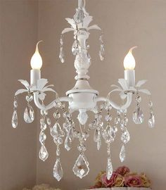 white chandeliers.