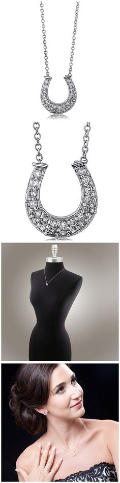 Sterling Silver CZ Horseshoe Fashion Necklace