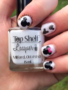 Mickey Mouse Nails using Arctic Kiss by Top Shelf Lacquer