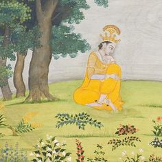 Folio from a Gita Govinda series: Krishna Seated by a Riverbank