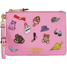 Moschino Fashion Pins Zip-Top Flat Clutch Bag, Pink/Multi found on Polyvore featuring bags, handbags, clutches, bolsa, moschino handbags, flat purse, pink handbags, pink clutches and zip top purse