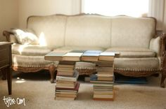 Do have too many out dated textbooks from way back when taking up space? Put them to good use and make a coffee table. You saved money for a new table and you finally have a place for all those books.