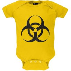 Distressed Biohazard Yellow Baby One Piece