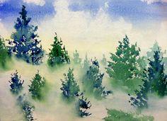 Foggy Pines 12 x 9